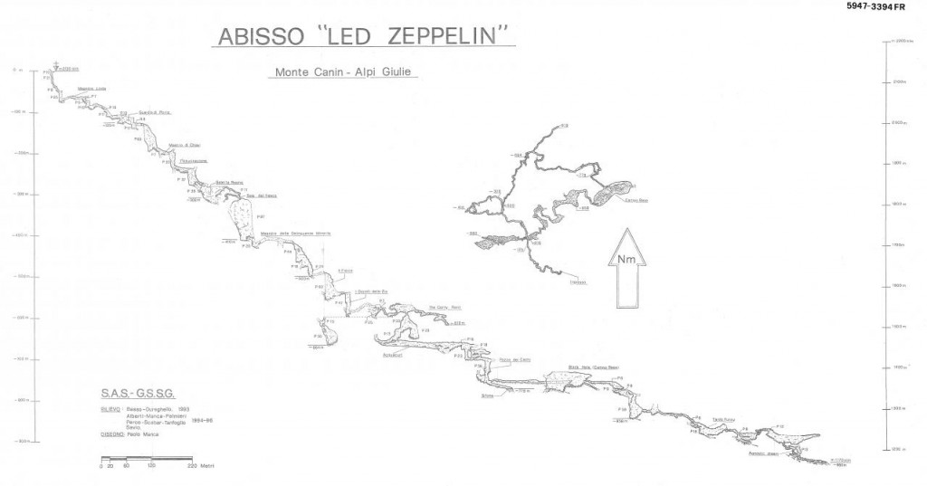 Speleološki nacrt jame Led Zeppelin
